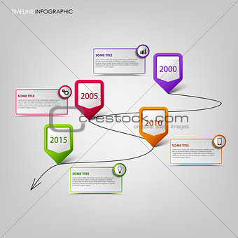 Time line info graphic with colored pointers background
