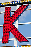 K letter circus neon sign