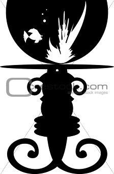 Fish silhouette in aquarium