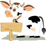 Cow with wooden board