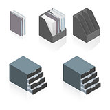 Folders and storage boxes detailed isometric set