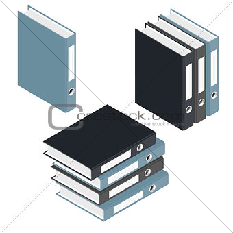 Folders and stack of folders isometric icons set