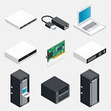 Networking isometric detailed icons set