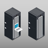 Server tower rack detailed isometric icon