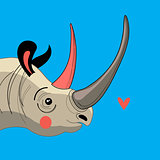 Portrait enamored rhino