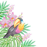 Tropical bird and flowers
