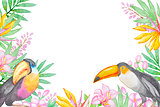 Watercolor background with tropical birds