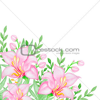 Watercolor background with pink flowers
