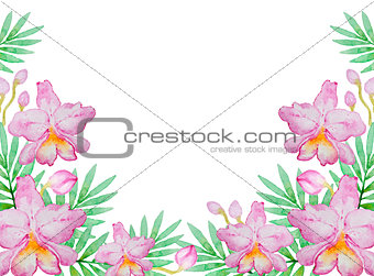 Watercolor background with pink orchids