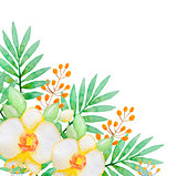 Watercolor background with yellow orchids