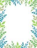 Watercolor background with green branches