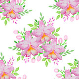 Watercolor seamless pattern with pink orchids