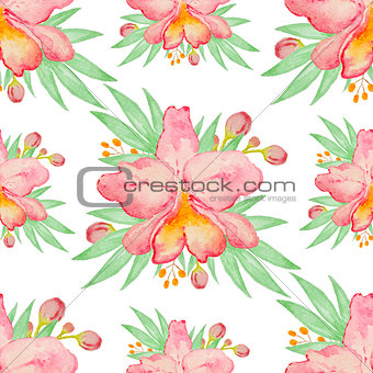Watercolor seamless pattern with red orchids