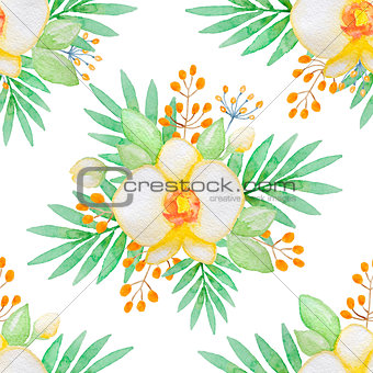 Watercolor seamless pattern with yellow orchids