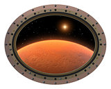 Futuristic Space Station Porthole. View To Red Planet.