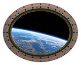 Futuristic Space Station Porthole. View From Space..