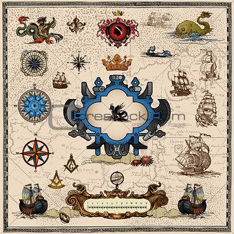antique map elements