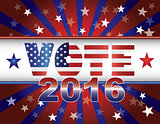 Vote 2016 Presidential Election On USA Flag Background Illustrat