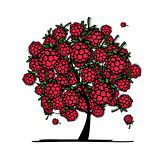 Raspberry tree, sketch for your design