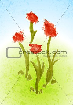 Watercolor floral bright background
