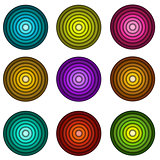 concentric pipe shape in multiple colors over wite