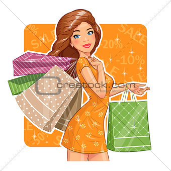 Beautiful girl with packages. Shopping.