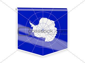 Flag label of antarctica