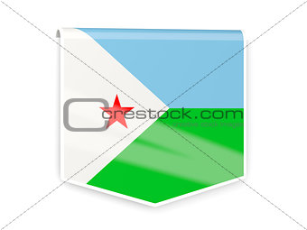 Flag label of djibouti