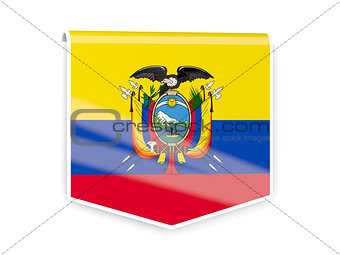 Flag label of ecuador