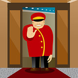 bellhop showing stop gesture