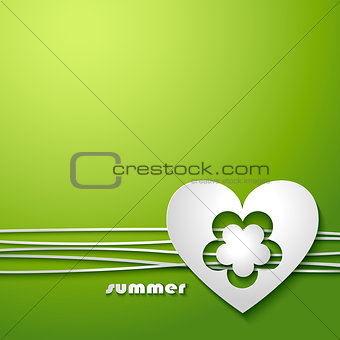 Background with love heart and flower