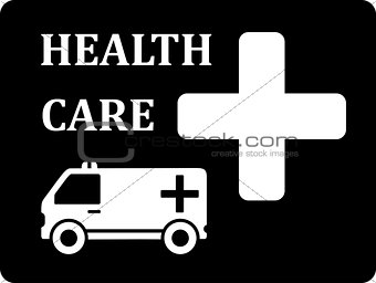black icon with ambulance car