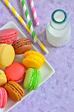 color macaroons and milk