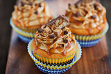 Delicious cream and caramel cupcakes