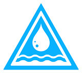 water drop triangular sign