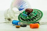 electronic circuit board LEDs and various spare parts