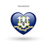 Love Connecticut state symbol. Heart flag icon.
