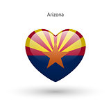 Love Arizona state symbol. Heart flag icon.