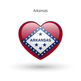 Love Arkansas state symbol. Heart flag icon.