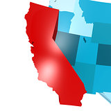 California map on blue USA map