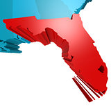 Florida map on blue USA map