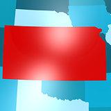 Kansas map on blue USA map