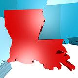 Louisiana map on blue USA map