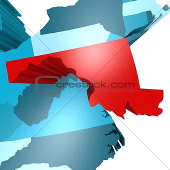 Maryland map on blue USA map