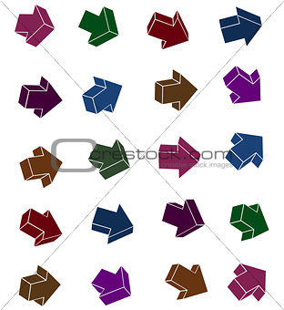 arrow icon collection in bright color on white background