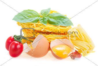 Tonarelli and  tagliatelle raw pasta
