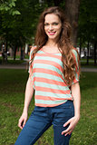 Smiling woman in the park