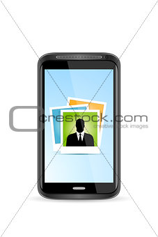Touchscreen Smart Phone with Icon of Photo Application. Isolated