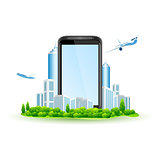 Touch Screen Smart Phone with City and Airbuses around. Isolated