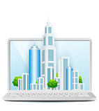 Modern City on Laptop Icon isolated on white background. Vector